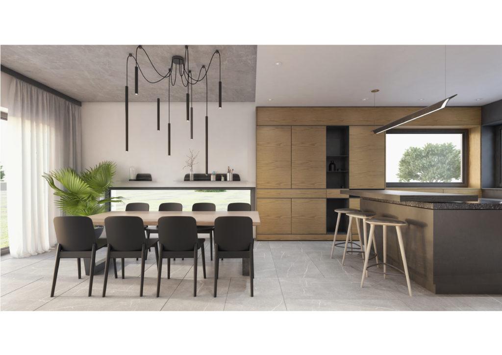Jadalnia połączona z kuchnią, oddzielona formalnie zabudową i sufitem